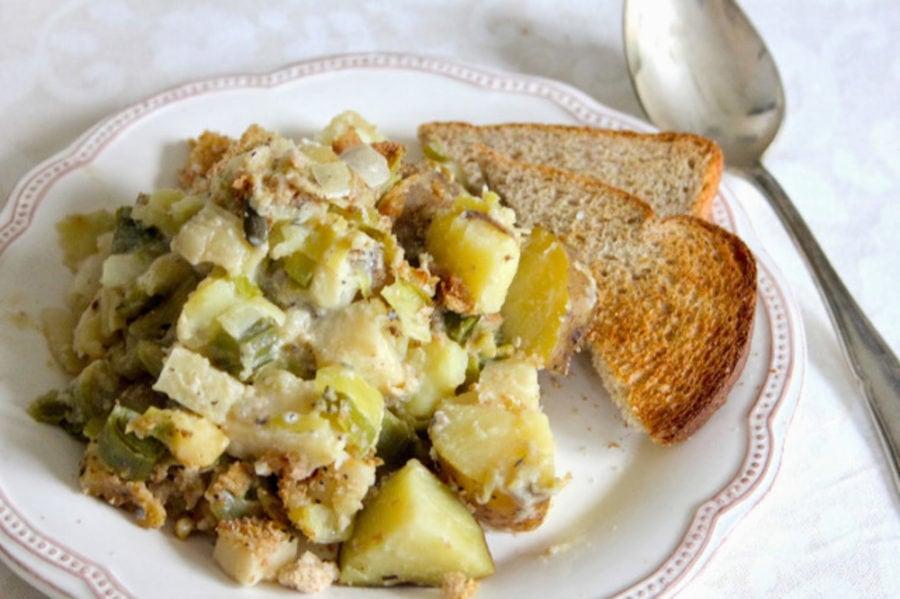 Cheesy Leek and Celeriac-Potato Gratin