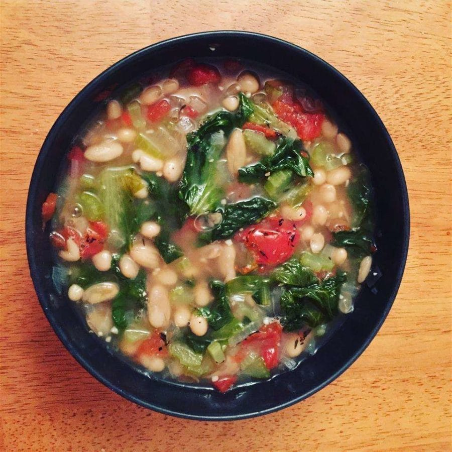 Chicory and cannellini bean soup