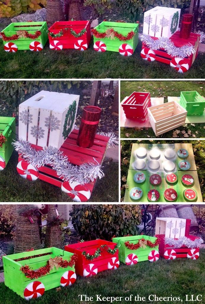 christmas crate train diy mosaic