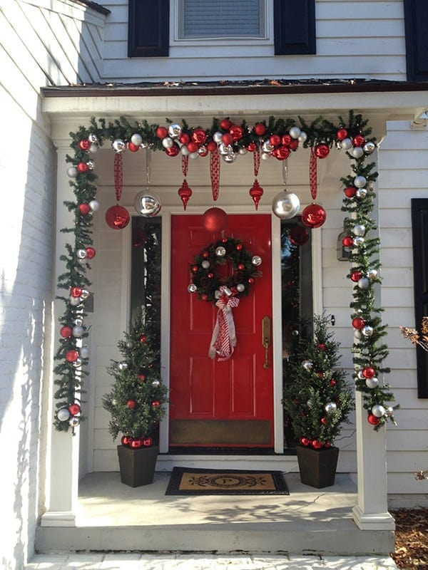christmas porch decoration colonial style red and white