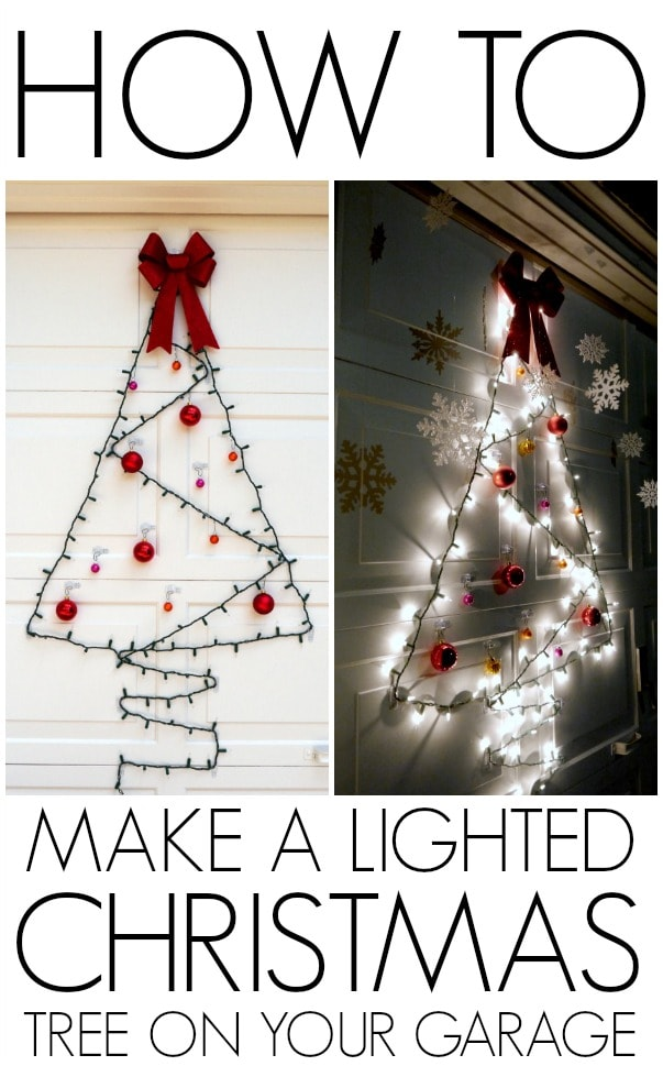 DIY Lighted Christmas Tree garage door decoration tutorial