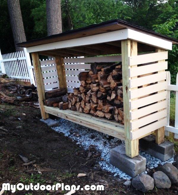 DIY backyard woodshed tutorial firewood storage ideas tutorial