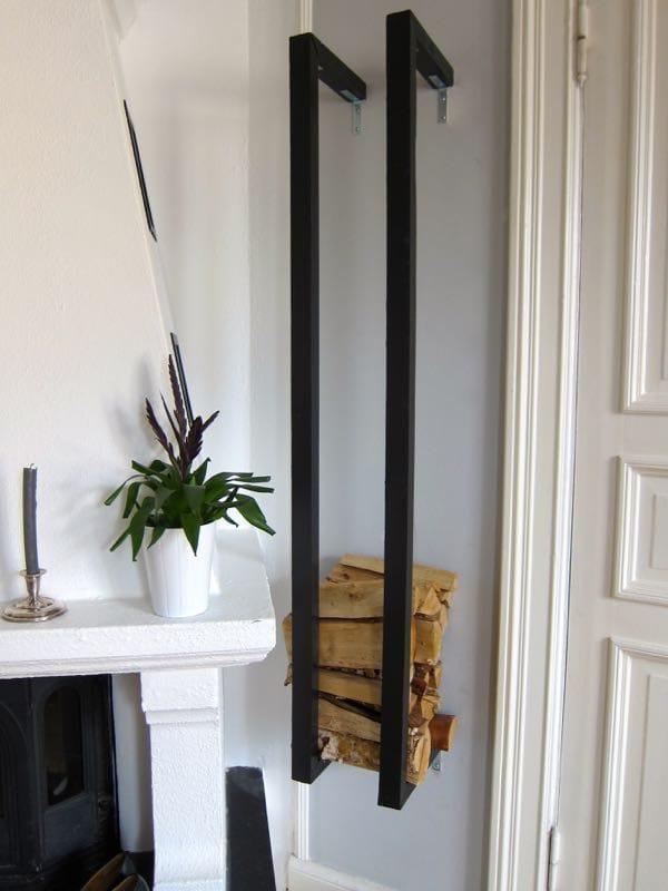 wall mounted indoor firewood storage idea DIY free tutorial