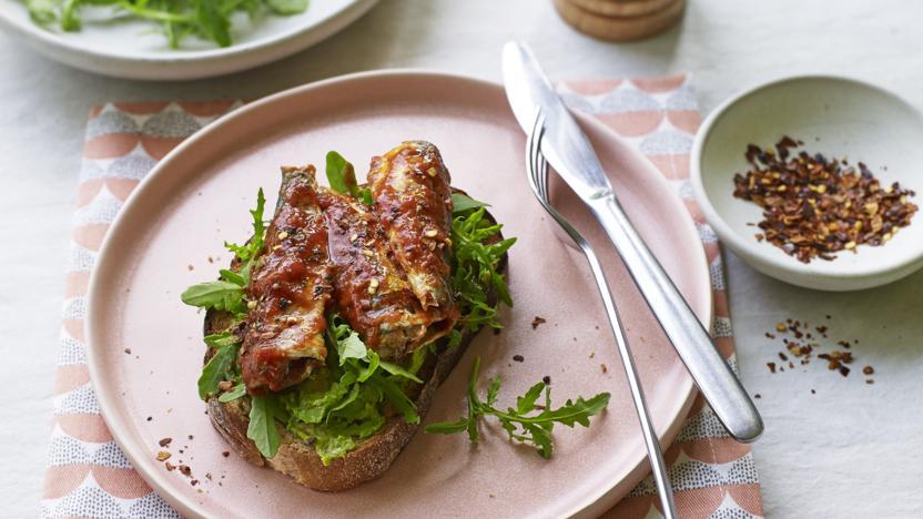 Fresh sardines on toast with celeriac slaw