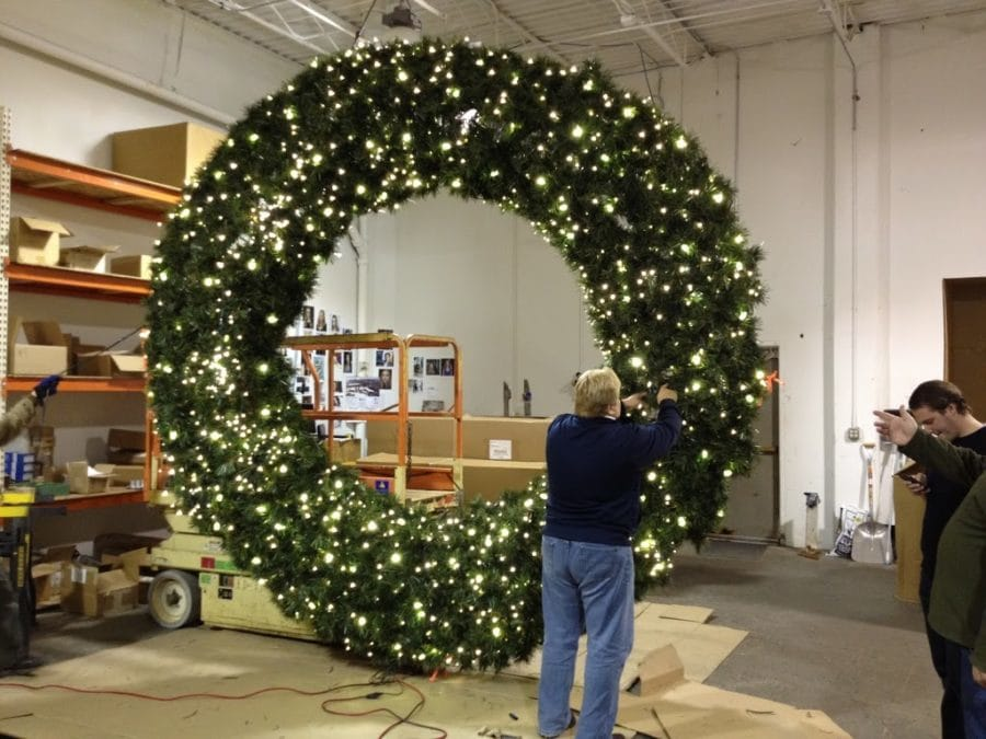 12 foot wreath downtown decorations fabrication diy