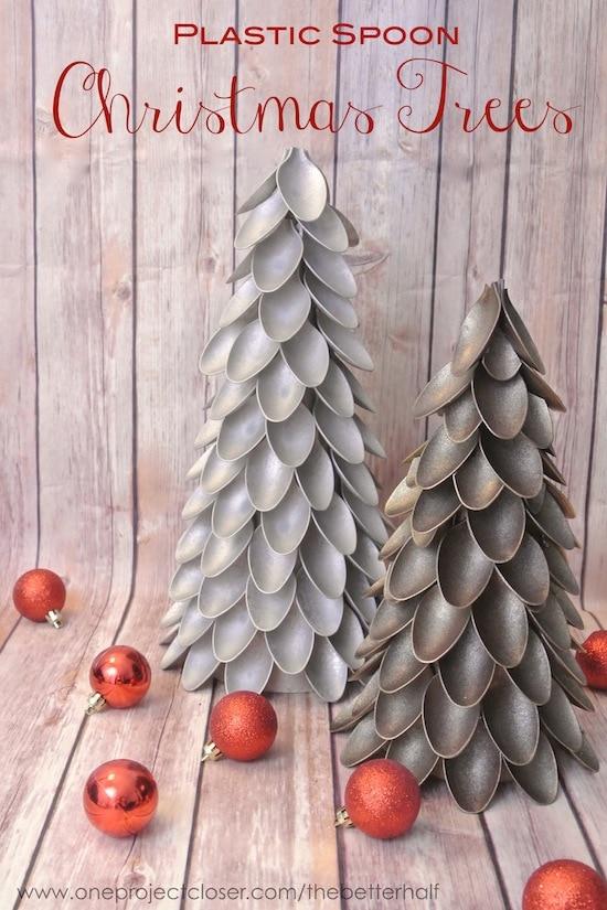Plastic Spoon Christmas Trees DIY Tutorial