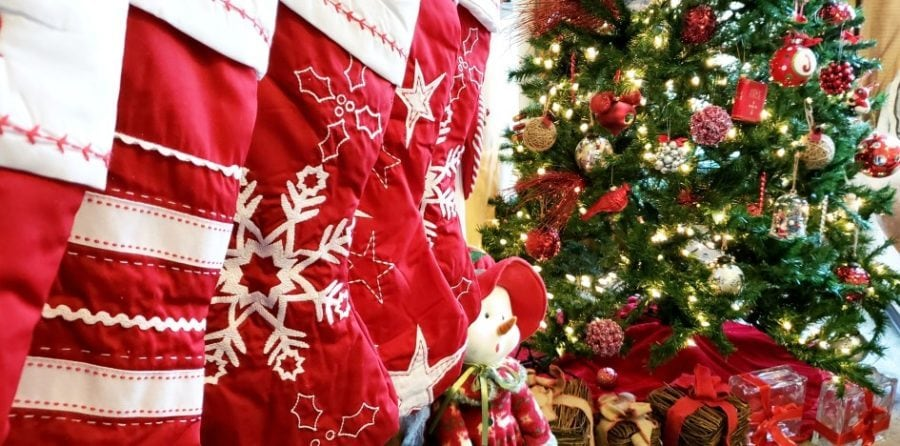 stockings hanging in a row by a christmas tree