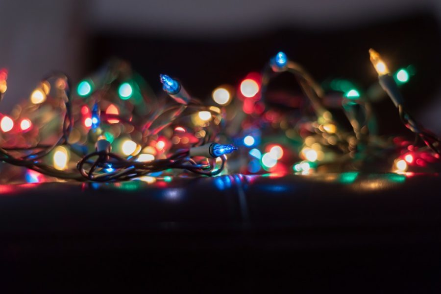 a pile of christmas lights out of focus multicolor
