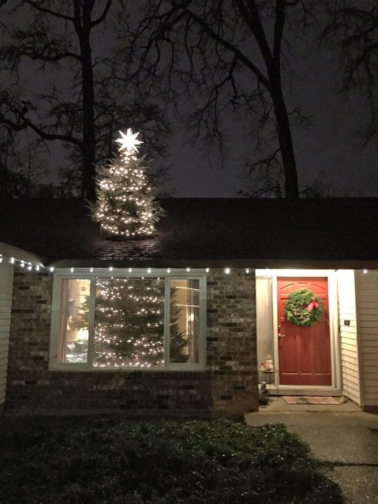 christmas trree through roof illusion decoration