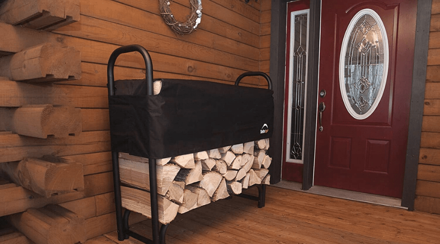 best firewood rack wide featured shelterlogic heavy duty outdoor with cover on wooden porch of home in use