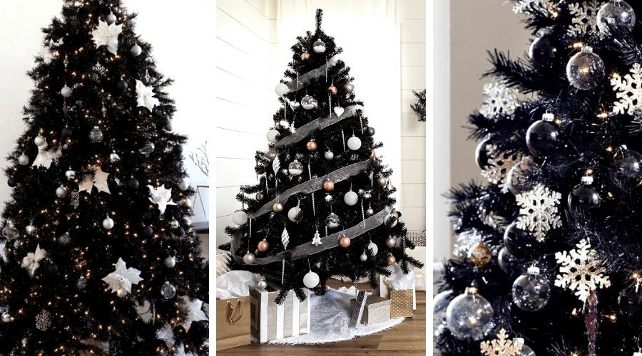 black xmas tree ideas wide full black tree decor