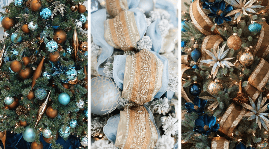 blue xmas tree ideas blue gold tonal