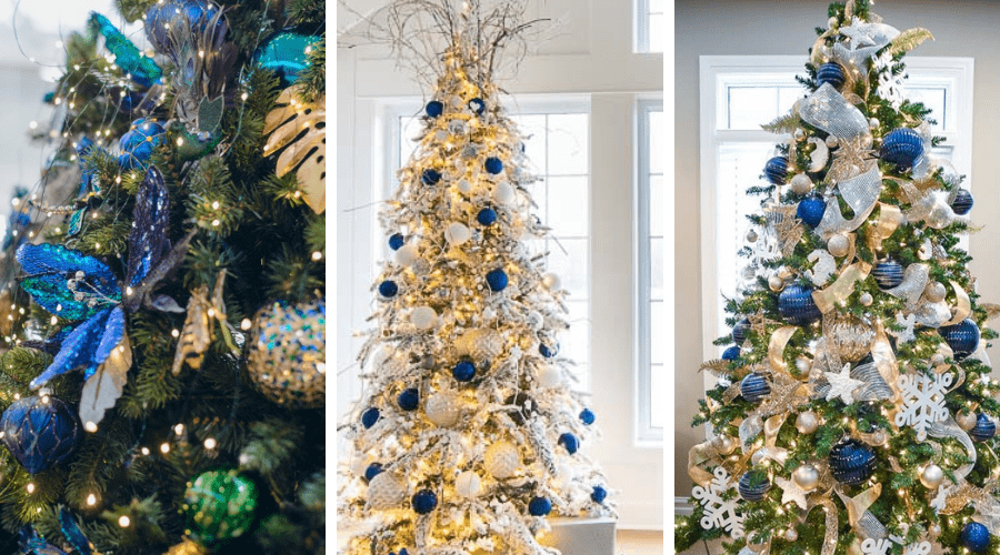 blue xmas tree ideas navy gold