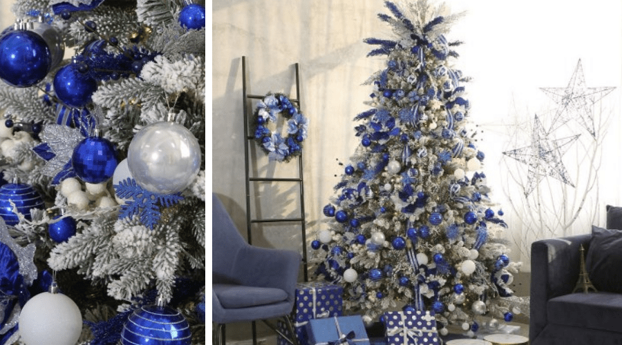 blue xmas tree ideas royal and white