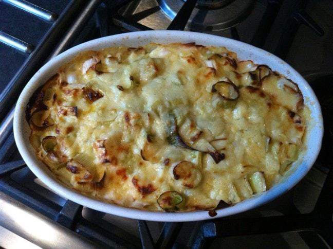 cheesy gratine leek celeriac potato rosemary