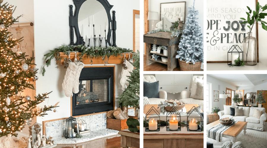 christmas decorating ideas neutral modern farmhouse