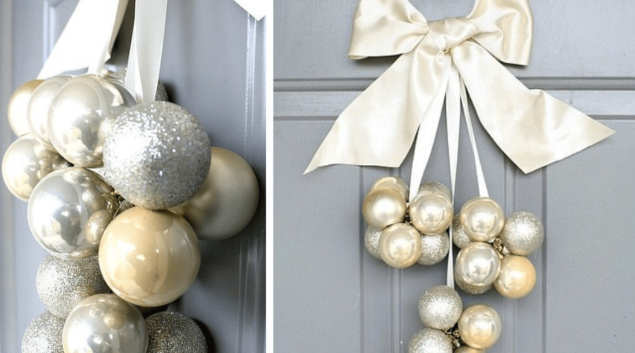 ornament and bow diy door decor
