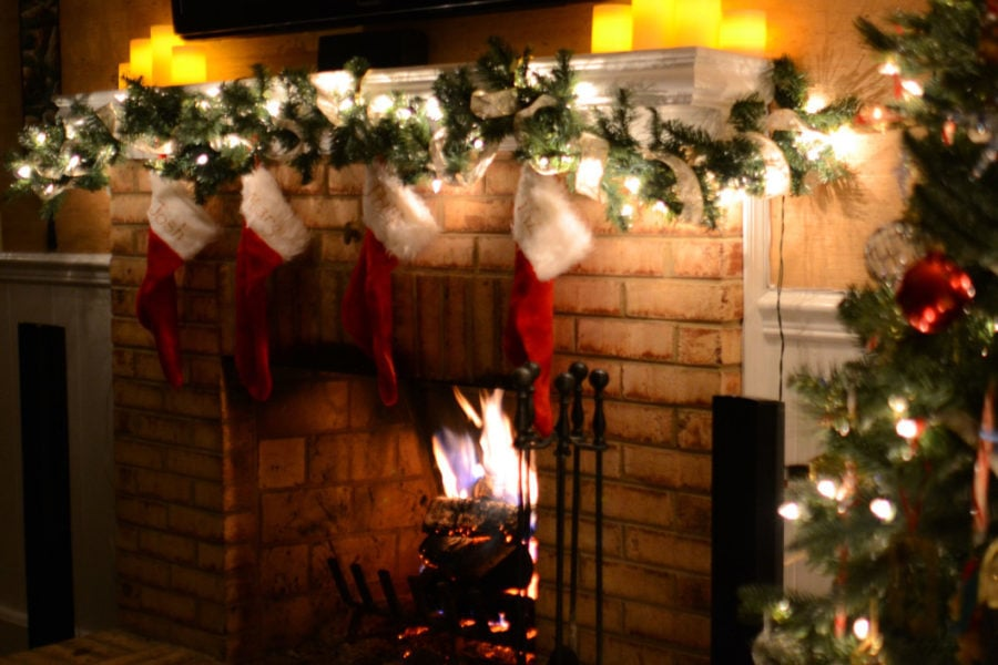 christmas, fire, christmas tree, fireplace, stockings, decorations, holidays