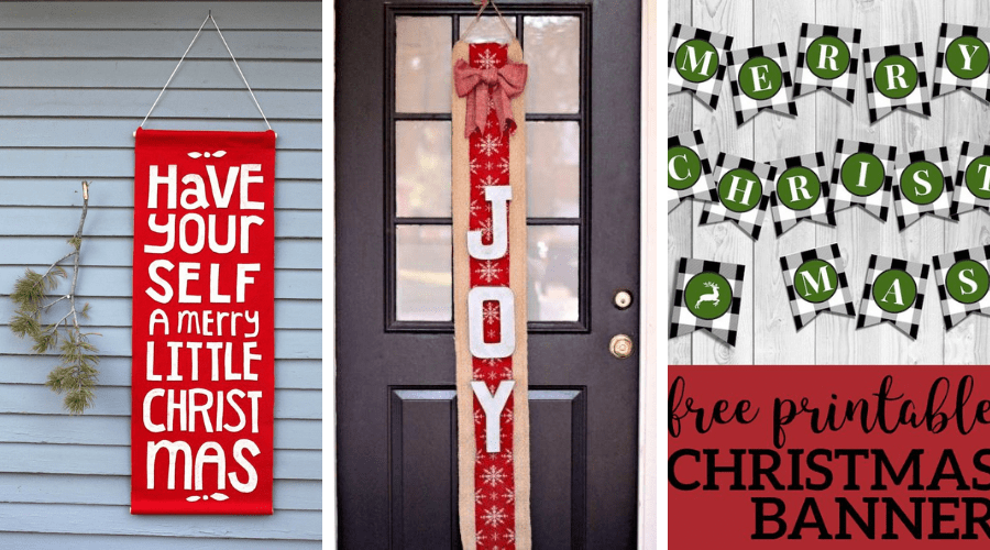 christmas front porch decor DIY banners