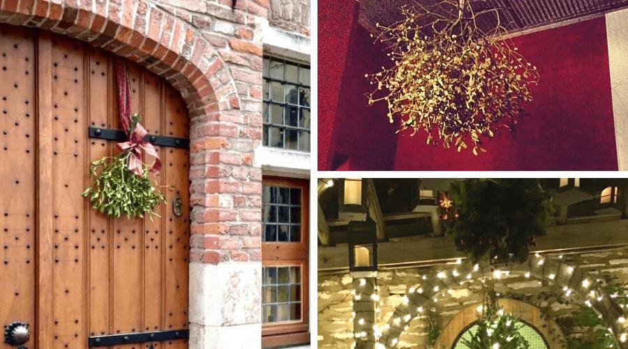 christmas front porch decor mistletoe