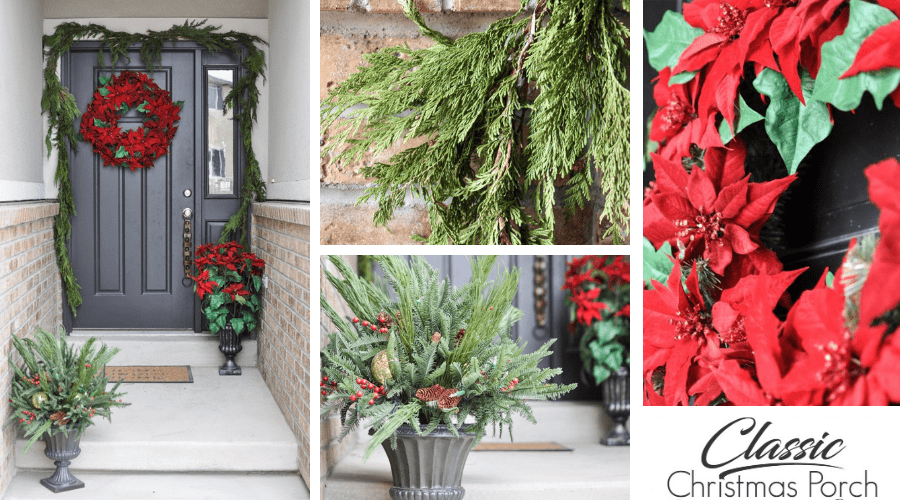 poinsettia green and red christmas front porch decor