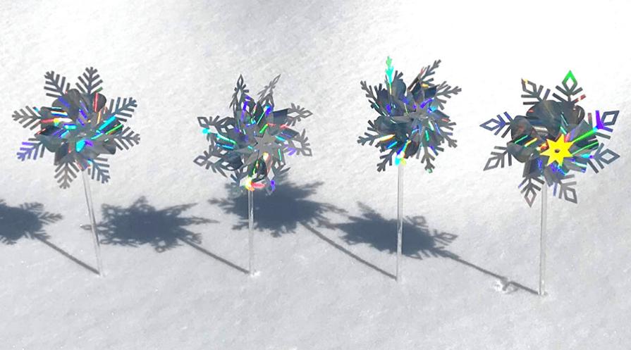 pinwheel mylar snowflake garden stakes for christmas