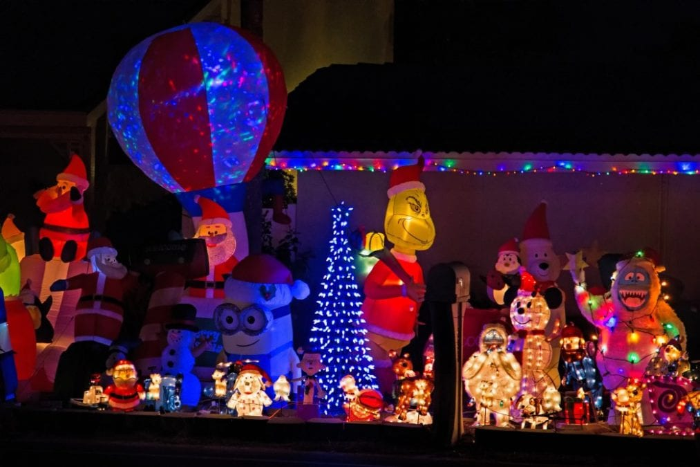 christmas inflatables candid outdoor nighttime