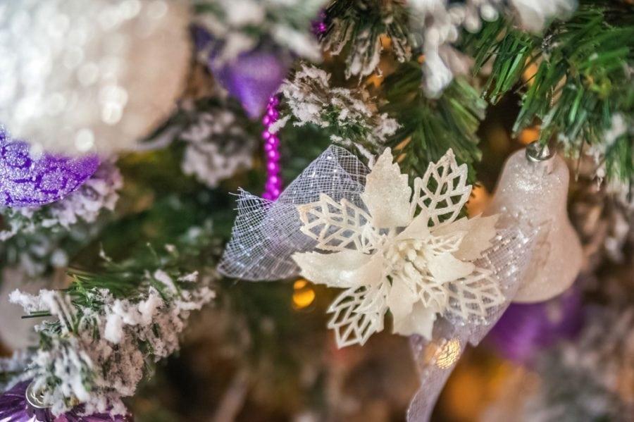 whicmsical bird flower decor white purple small chrstimas tree idea