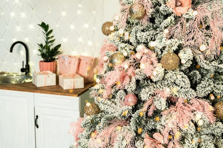 xmas tree decor ideas pink and gold example