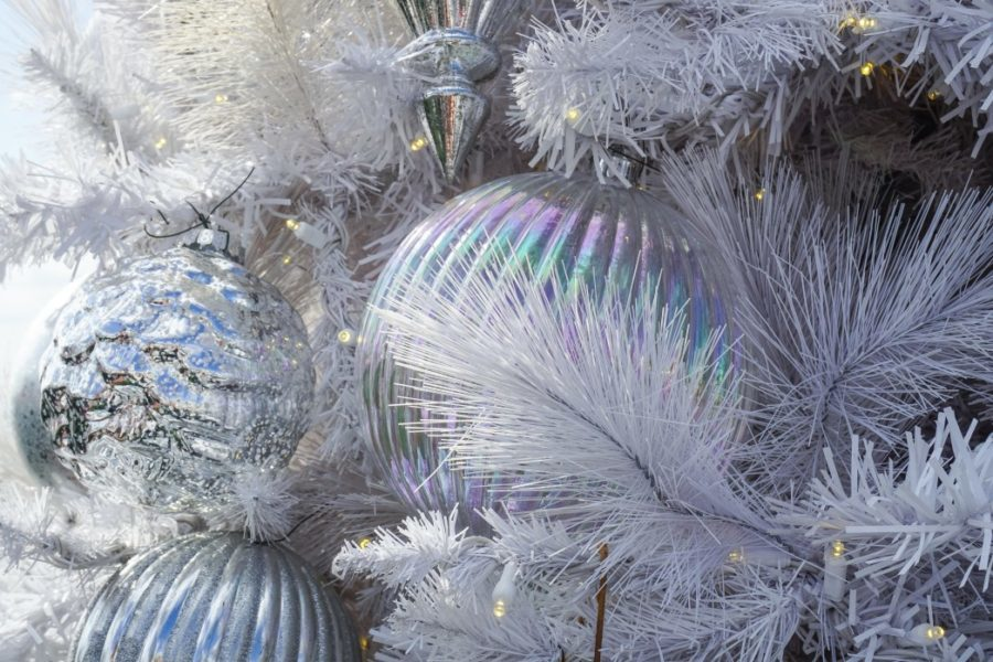 silver decor on a silvery white tree closeup