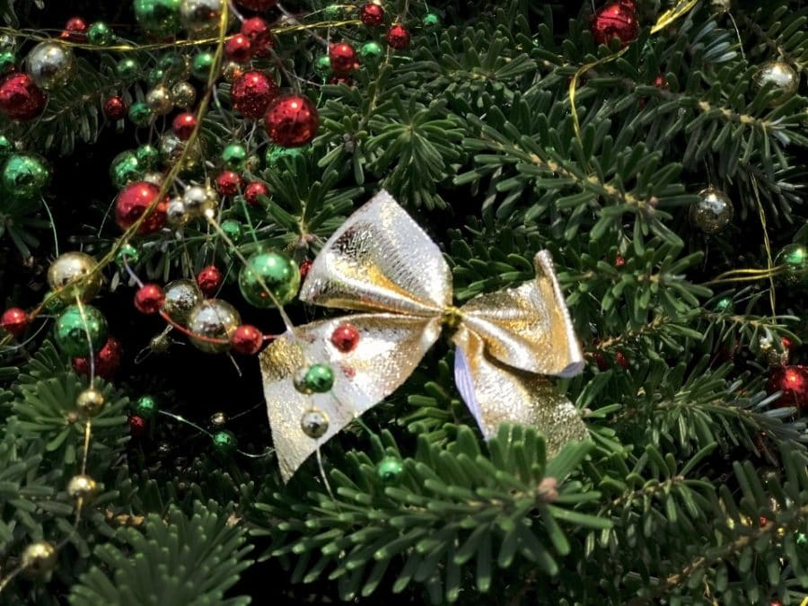 bow on tree closeup christmas decoration