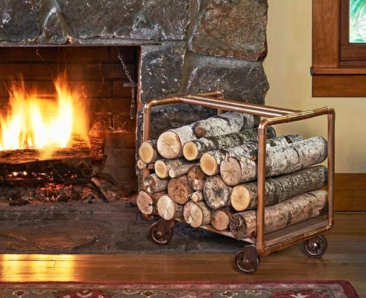 copper pipe log cart diy indoor firewood storage tutorial