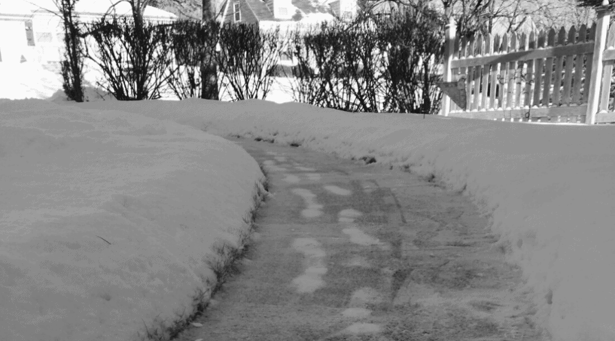 diy ice melt wide snowy path in winter with ice