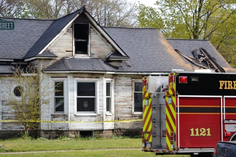 Fire department at the scene of a house fire
