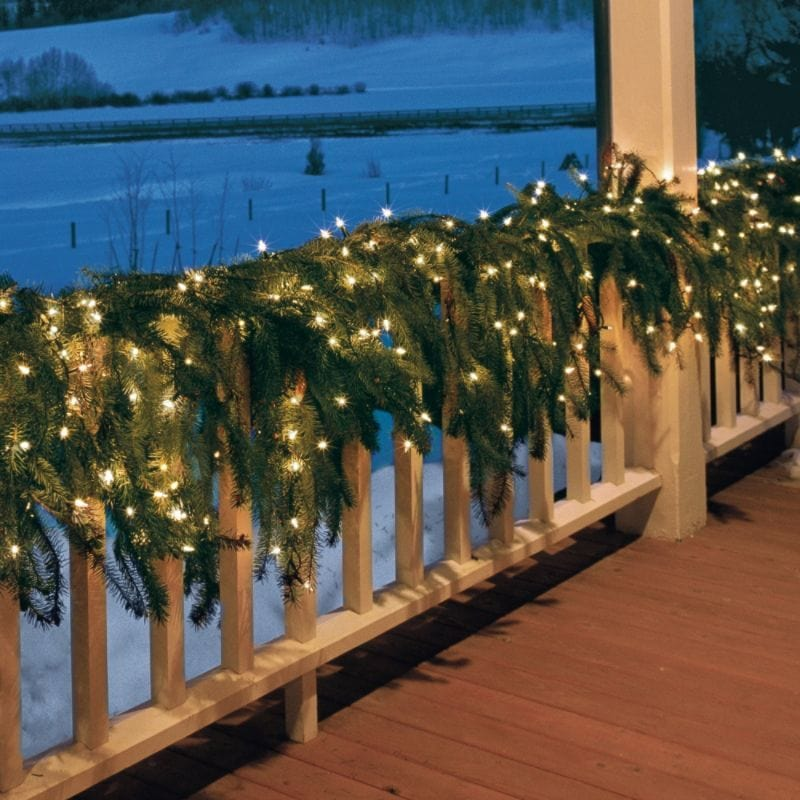 wraparound porch railing decorations for christmas with lighted spruce garland