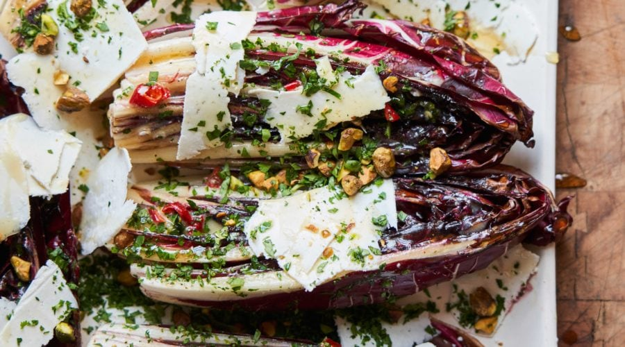 Grilled Treviso Radicchio Salad with Ricotta Salata, Pistachios, and Hot Honey
