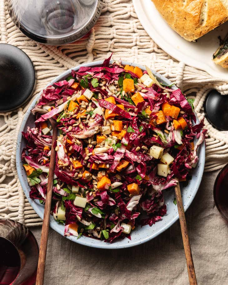 Raw and Roasted Radicchio Salad with Sweet Potato, Manchego, and Crunchy Seeds
