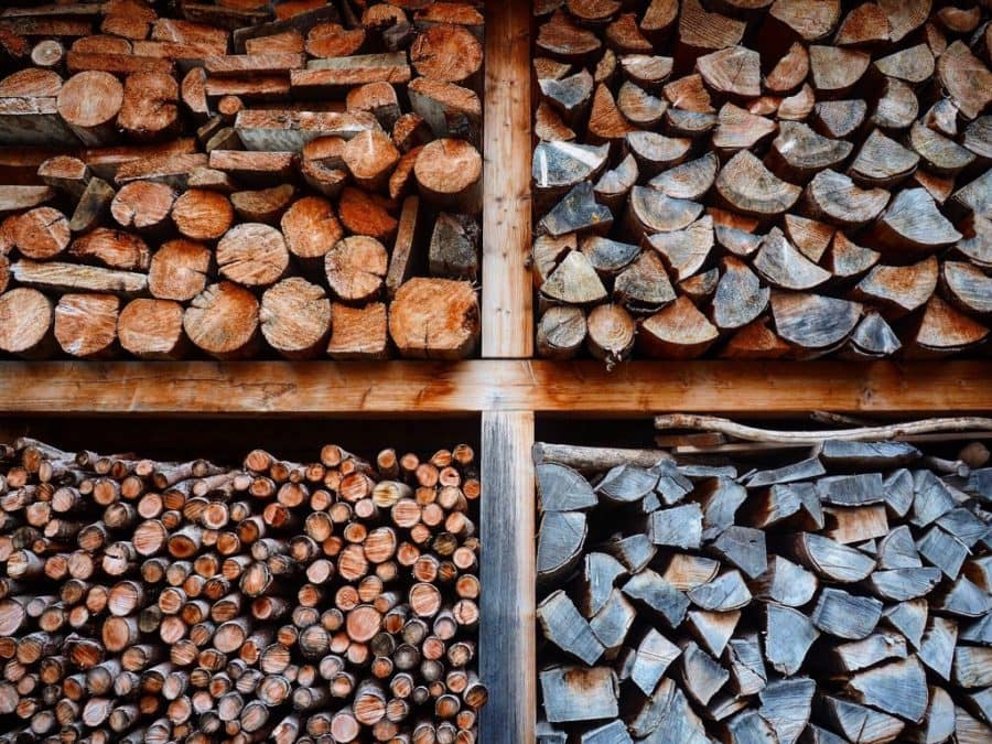 kiln dried firewood storage sorted by size