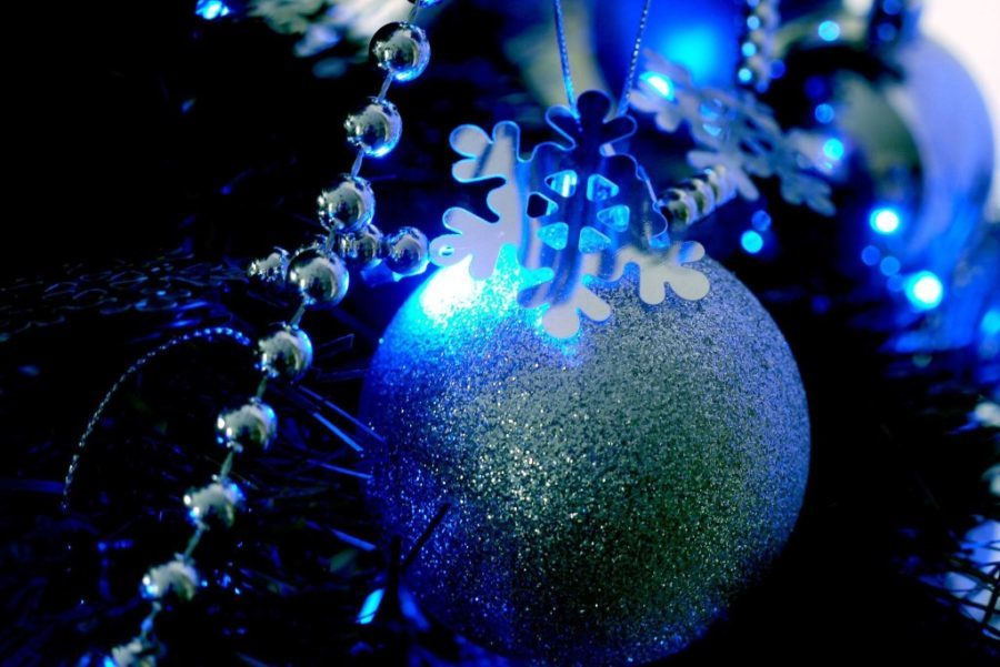 navy tinsel tree with blue decorations closeup blue christmas tree ideas