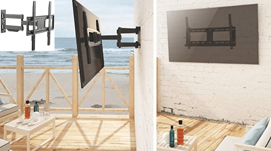 properly mounted tv on facade outdoors