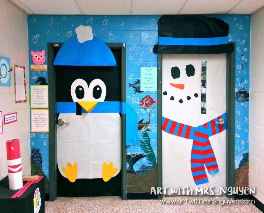 penguin and snowman door art classrooms