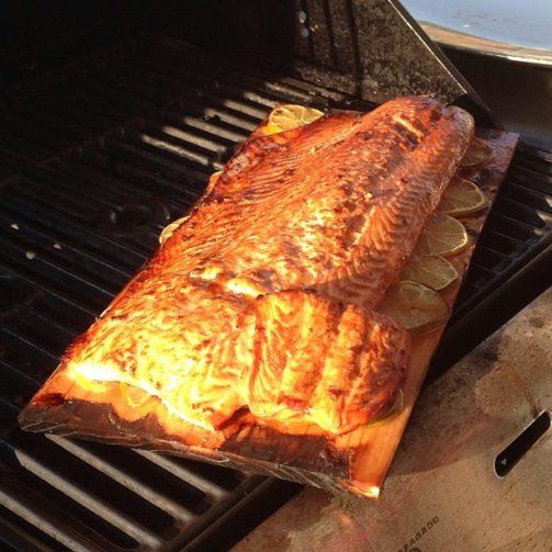 cedar plank salmon grilled cedarwood firewood smoke