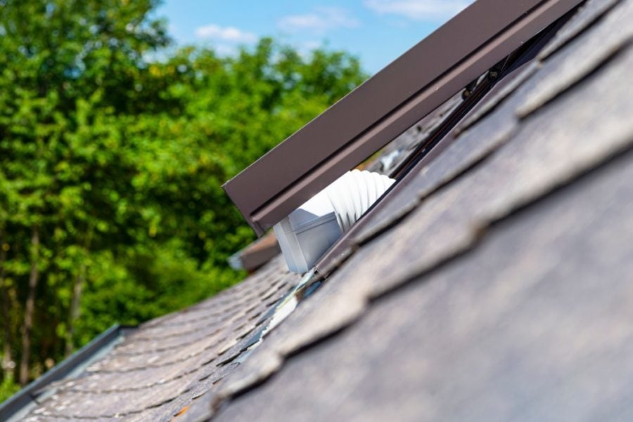 attic exhaust system prevents hot air buildup in summer and ice dam formation in winter