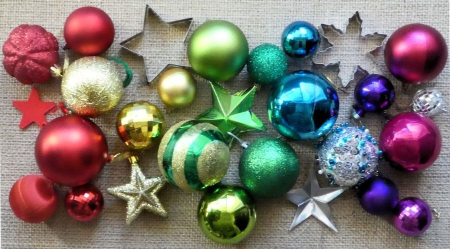 rainbow christmas ornaments flatlay