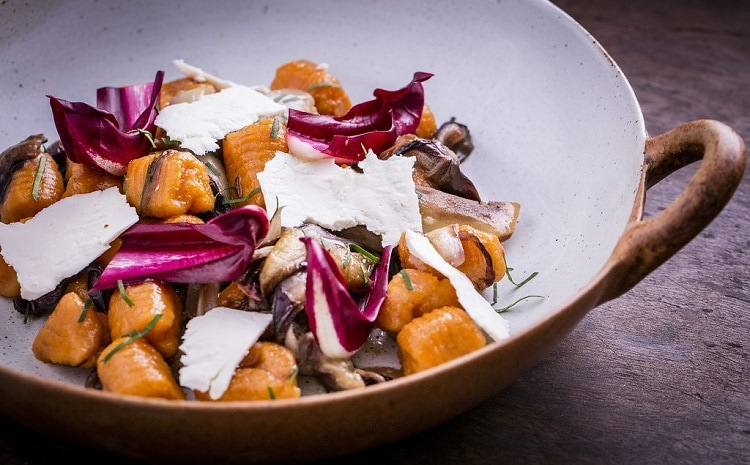 Sweet potato Gnocchi with Radicchio Tardivo and smoked ricotta, by Chef Danilo Cortellini