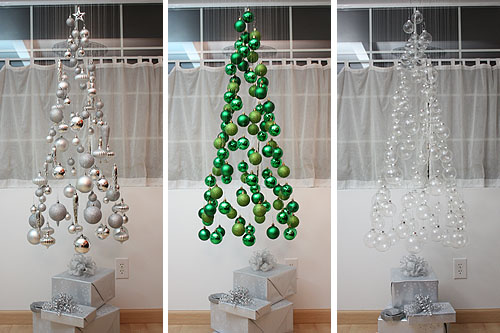 three hanging tree mobile silver green clear ornaments tutorial diy