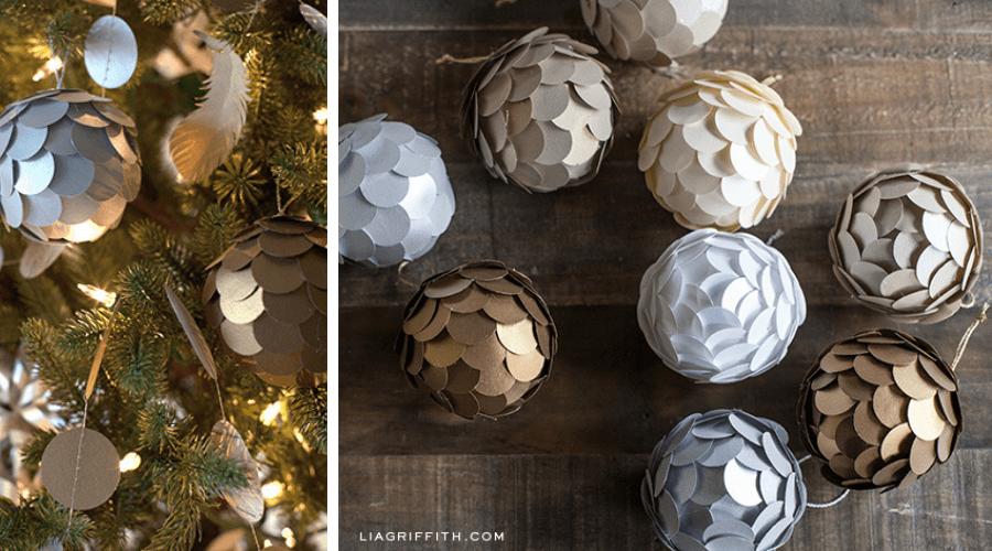 unique xmas tree decoration metallic paper ornament tutorial