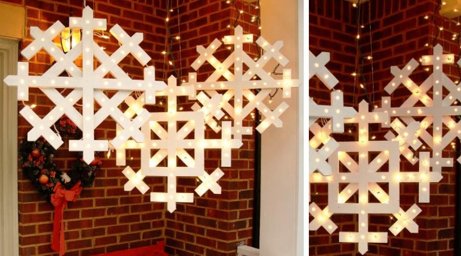 unusual outdoor xmas decor lighted snowflake