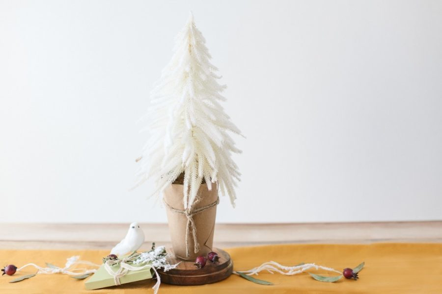 white Christmas tree, white ornaments and birds,