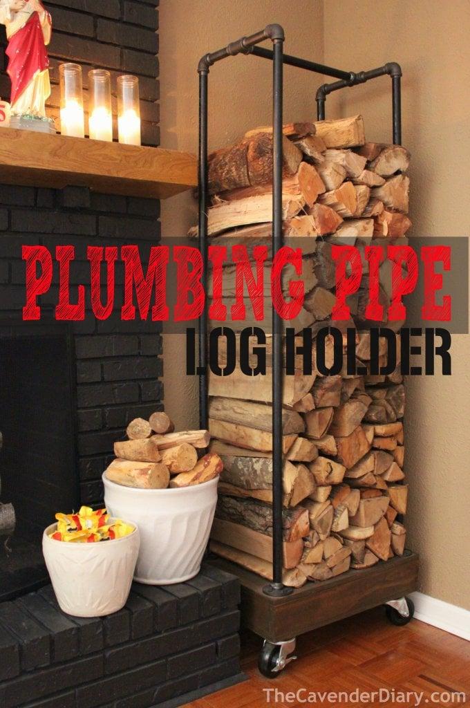 plumbing pipe tutorial diy indoor firewood storage